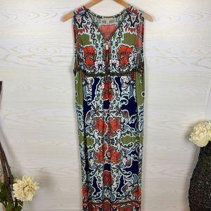 NWOT Tropical Tribal Maxi Dressbarn Dress